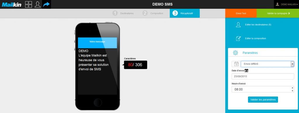 fonctionnalités campagnes sms