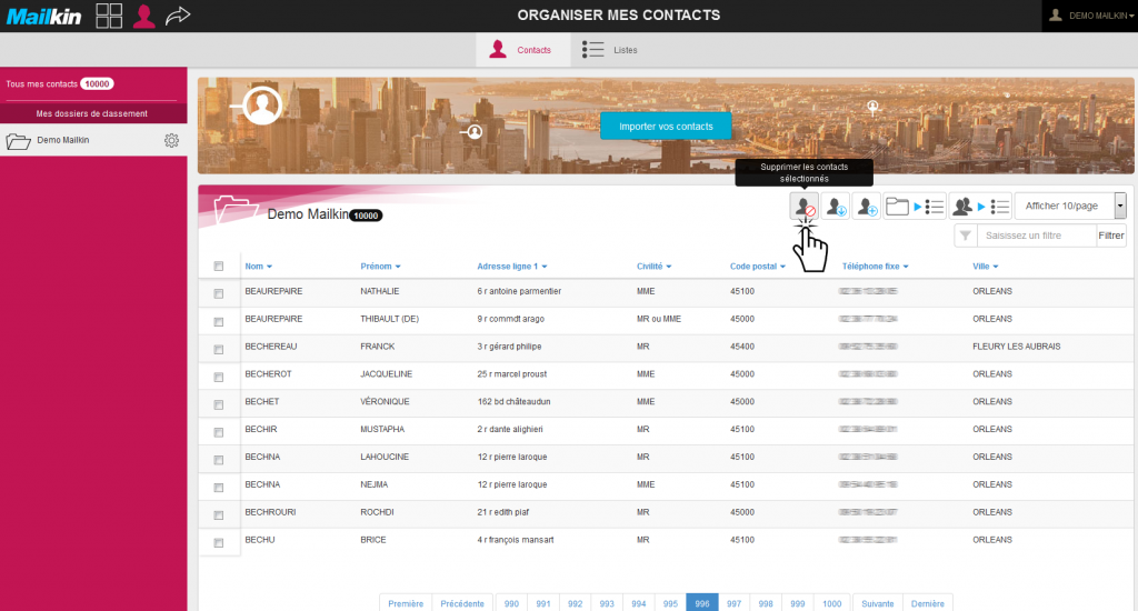 gestion contacts