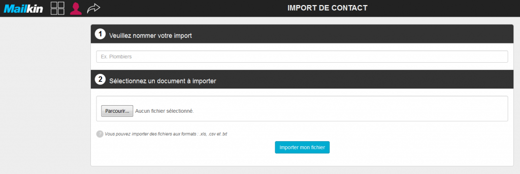import fichier contact